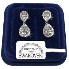 Orecchini doppia Goccia donna pl. oro bianco 18K con cristalli swarovski SW/15g