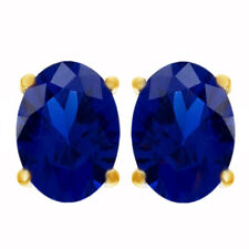 1.60 Ct Oval Cut Blue Sapphire 18K Yellow Gold Over Stud Earrings $436.95