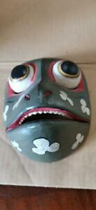 19 cm Asian Traditional Wood Carving Mask Wall Hanging Decoration Vintage Used