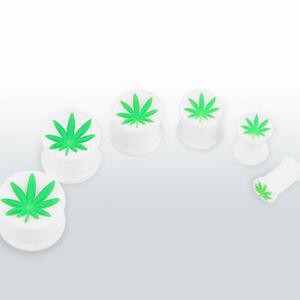 10mm White Silicone Ear Plug + Weed Leaf, Pot, Cannabis ~ Stretched Piercing