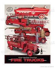 Vintage Large Scale Pressed-Steel Fire Trucks, 24 x 30 Print