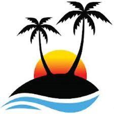 """48 CUTE PALM TREE BEACH SUNSET !!! STICKER LABEL ENVELOPE SEALS 1.2"""" ROUND"""