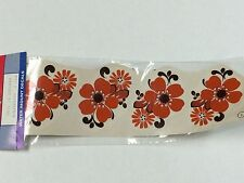 Ceramic decals floral in bright orange and brown lot of 24