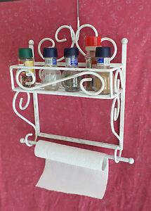 Mensola in ferro battuto stile shabby porta spezie e scottex cucina rustica