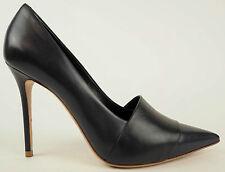 CELINE Navy Black Leather Pointed Toe Stiletto Heels Shoes EU 37.5 US 7 $720