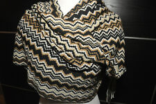 """AUTH NEW $250 MISSONI XL Knit Wool Blend Brown Scarf  Wrap 22""""X76"""" Made in Italy"""