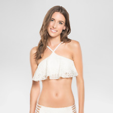 NEW Vanilla Onyx Off White Spaghetti Crochet Swim Top Adjustable Strape Size M