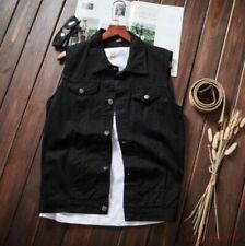 Men Casual New Denim Vest Sleeveless Thin Short Fashion Jacket Retro Waistcoat