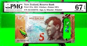 NEW ZEALAND 5 DOLLARS 2015 RESERVE BANK PICK 191 a LUCKY MONEY VALUE $150