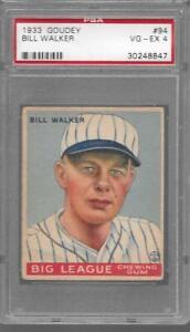 1933 Goudey #94 BILL WALKER Cardinals PSA 4 VG-EX