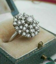 2 Ct Round Diamond Vintage Cocktail Cluster Ring Solid 14K White Gold Finish