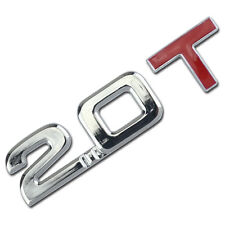 CHROME/RED 2.0 T METAL TURBO ENGINE RACE MOTOR SWAP EMBLEM BADGE DECAL FOR TRUNK