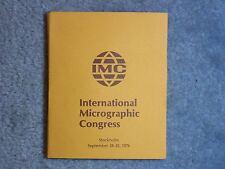 1976 KODAK IMC INTERNATIONAL MICROGRAPHIC CONGRESS BROCHURE STOCKHOLM SEPTEMBER