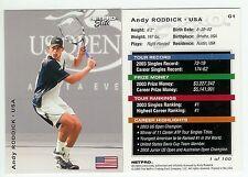 2003 NETPRO ELITE GLOSSY 2000 ANDY RODDICK #G1 /100 USA