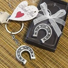 100 Silver Good Luck Horseshoe Key Chain Wedding Party Gift Favors