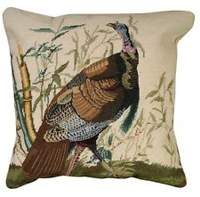 "20x20"" Turkey Needlepoint Pillow"