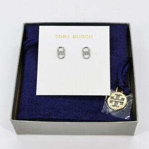 Tory Burch Gemini Link Silver Stud Earrings w/ earring card & pouch