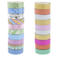 10pcs Self Adhesive Glitter Washi Masking Tape Home Office Supplies