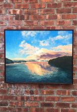 Hudson River Valley Artist Anne Johann Signed Oil On Canvas. Riverscape