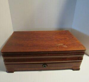 Storage Chest Flatware Drawer Silverware Silverplate Anti Tarnish Wood Box Case