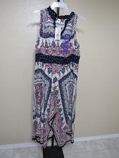 Womens Bila Black Red Tan Blue Floral Printed Maxi Dress Size 2xl