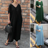 ZANZEA Women Summer Casual Beach Loose Shirt Dress Slit Solid Long Midi Sundress