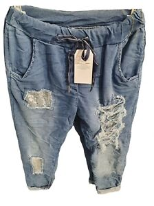 Damen Jeanshose Glitzer Vintage Stretch Jeans Hose Risse BLAU 38-42 verwaschen