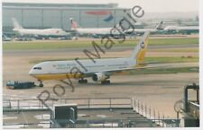 Colour print of Royal Brunei Boeing 767 33AER V8-RBF at Heathrow in 1999