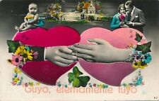 Tuyo Eternamente Tuyo Yours Eternally Yours Greeting Hand Colored Postcard