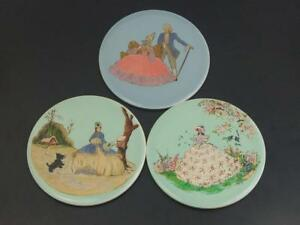 Round Early Wheelling Decorative Tiles Hand Painted with 18th century ladies