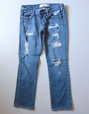 HOLLISTER Abercrombie Destroyed Boot Cut Distressed Jeans Denim 3 X 27 26W Short