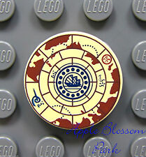 NEW Lego Pirate 2x2  Round Decorated TILE - Tan w/Nautical Treasure Map Pattern