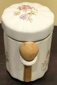 Vintage Handpainted Porcelain Floral Sugar/Tea Container Dish Spoon FTDA 1988