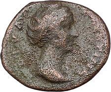 FAUSTINA I Antoninus Pius Wife Ancient Roman Coin Vesta Home Cult   i41286