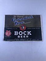 Scarce 1930s Griesedieck Bros Bock Beer Label St Louis Missouri
