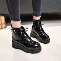 Retro Women Gothic Platform Ankle Boots Buckle Girls British Style Sneaker 00