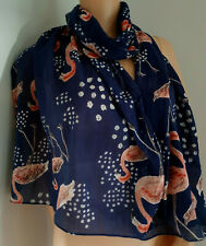 Navy Blue Long & Wide Cotton Scarf Pink Flamingo Design By Disaster