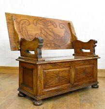 Antique carved oak storage monks bench - folding settle