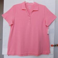 Croft & Barrow Size 1X Coral Pink pique knit polo top, collar, short sleeve NWT