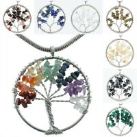 Wire Wrapped Tree of Life Gemstone Pendant Turquoise/Quartz/Amazonite/Malachite