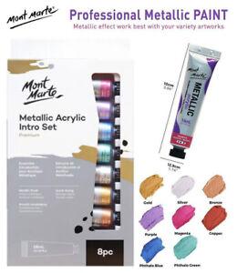 8PCS X 18ml Mont Marte Metallic Acrylic Paint Intro Set Art Craft Painting