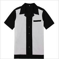 Mens Bowling Shirt Vintage Retro Design 50s 60s Style Cotton Top Party Clubwear