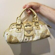 Paris Hilton logo Gold Small satchel handbag Purse pink logos lining studs