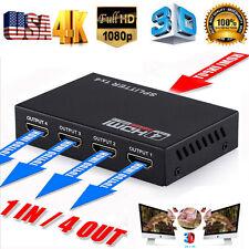 1080p 4K  Full HD HDMI Splitter Amplifier Repeater Female Switch Box 1x4 Port