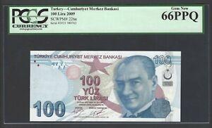 Turkey 100 Lira 2009 P226a Uncirculated Graded 66