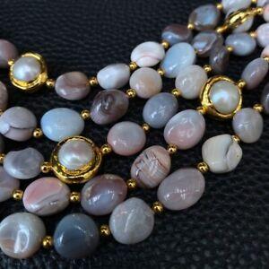 5 Rows Natural Pink Persia Agate Irregular Shape White Pearl Beaded Bracelet