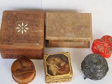 Konvolut 6 Pillendosen, Puderdose, Aufbewahrungsdose, Holzbox, Schmuckschatulle