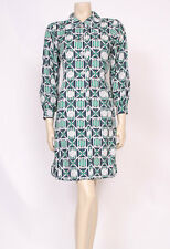 Original VINTAGE 1960'S 70'S MOD GREEN WHITE NAVY PRINT COLLARS DAY DRESS! UK 14