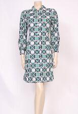 ORIGINALE VINTAGE ANNI 1960 anni'70 MOD Verde Bianco Blu Scuro Stampa COLLARI Giorno Vestito! UK 14