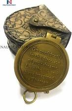 Confidently Poem Engraved Pocket Compass with Leather case-Antique Gift Compass